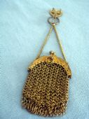 Antique Chatelaine Purse - Chain Mesh Purse on Belt Clip (SOLD)